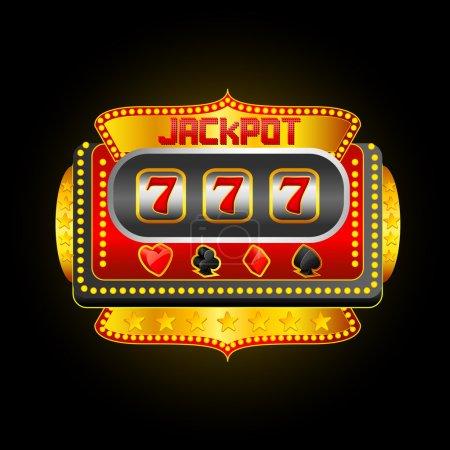 Illustration pour Illustration vectorielle de casino machine à sous montrant le jackpot - image libre de droit