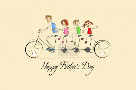 Illustration for Vector illustration of family enjoying tandem bicycle ride - Royalty Free Image