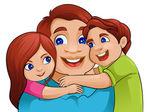 Den otců pozadí s otcem a dětmi