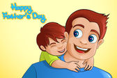 Father and son in Father's Day background