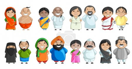 Illustration for Vector illustration of Indian couple of different culture - Royalty Free Image