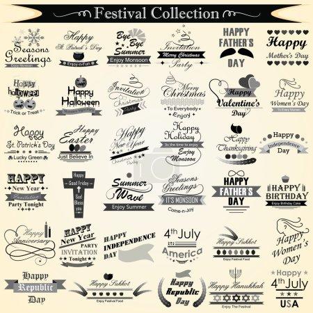 Illustration pour Illustration vectorielle de la calligraphie des fêtes et festivals - image libre de droit