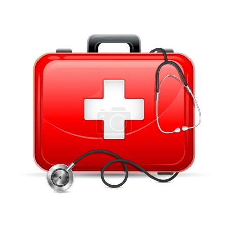 Illustration for Vector illustration of first aid box with stethoscope - Royalty Free Image