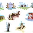 Vector illustration of collection of World Famous ...