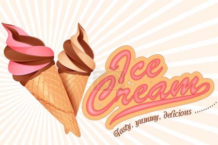 Illustration pour Illustration vectorielle du cône de crème glacée coloré - image libre de droit