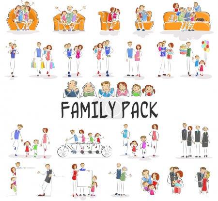 Illustration pour Illustration vectorielle du pack familial avec personnage faisant différentes activités - image libre de droit