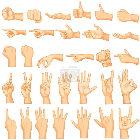 Vector illustration of collection of hand gestures...