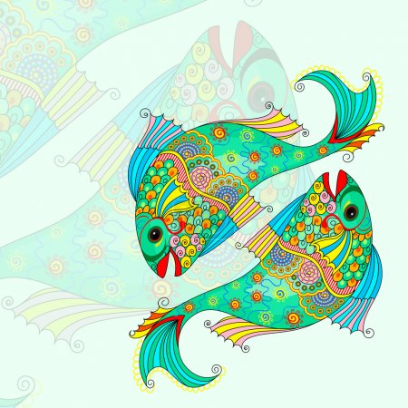 Illustration for Vector illustration of Pisces Zodiac Sign - Royalty Free Image