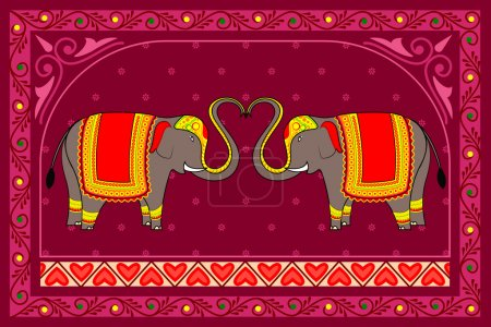 Vector illustration of decorated elephant...
