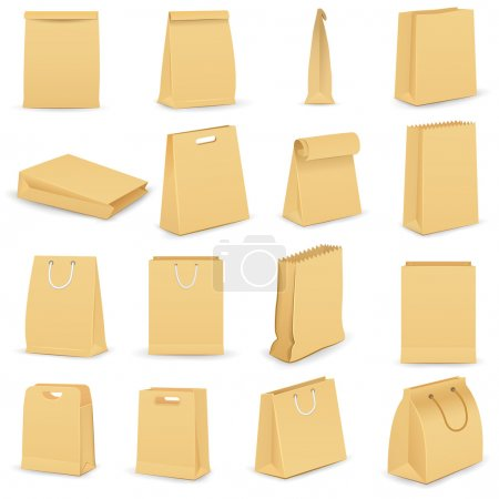 Illustration for Vector illustration of collection of brown paper bag - Royalty Free Image