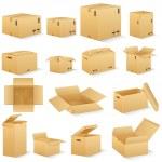 Vector illustration of different shape carton box...