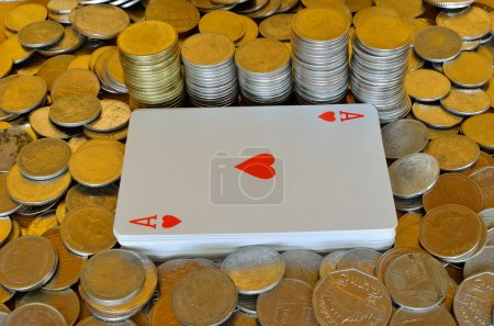 Poker card and coins