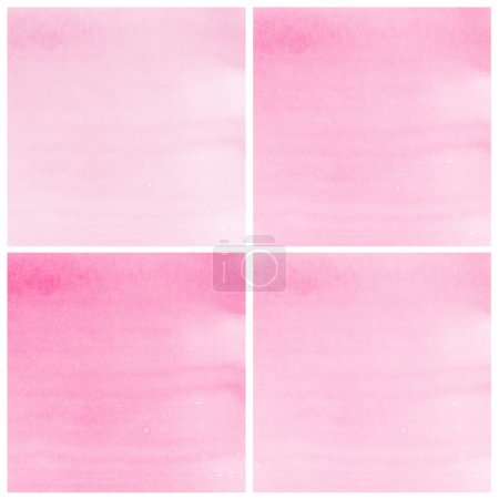 Photo pour Ensemble de peinture à la main art aquarelle abstrait rose fond - image libre de droit
