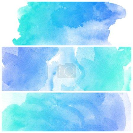 Photo pour Ensemble de coloré divers abstrait aquarelle art fond peinture à la main - image libre de droit