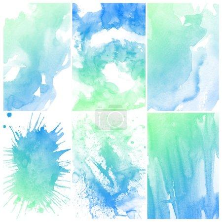 Photo pour Ensemble de peinture à la main abstraite bleu aquarelle art fond - image libre de droit
