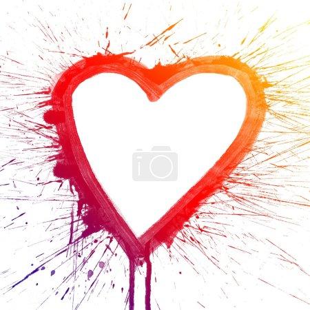 Photo pour Abstrait coloré éclaboussure coeur aquarelle art peinture à la main sur fond blanc - image libre de droit