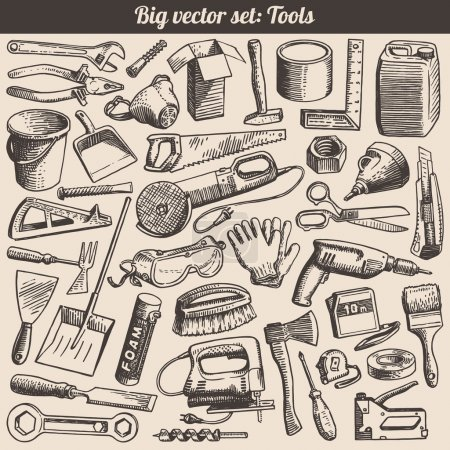 Photo for Doodles Collection Of Working Tools Instruments Vector - Royalty Free Image