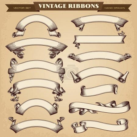 Illustration pour Bannières de ruban Vintage vector collection - image libre de droit