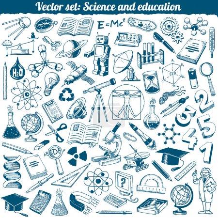 Illustration pour Ensemble vectoriel d'icônes de caniches de science et d'éducation - image libre de droit
