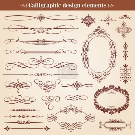 Illustration for Vintage Calligraphic Design Elements And Page Decoration Vector - Royalty Free Image