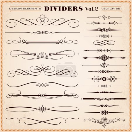 Illustration for Set of vector vintage calligraphic design elements and page decoration, dividers and dashes - Royalty Free Image