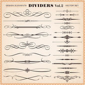 Set of vector vintage calligraphic design elements and page decoration dividers and dashes