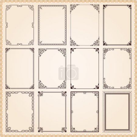 Illustration for Decorative vintage frames and borders set vector - Royalty Free Image