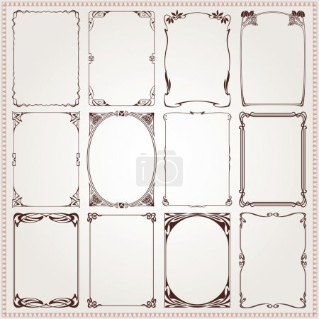 Illustration for Decorative vintage borders and frames Art Nouveau style vector - Royalty Free Image