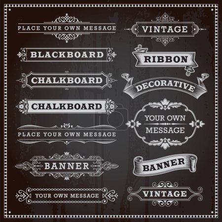 Illustration for Vintage design elements - banners, frames and ribbons, chalkboard style vector - Royalty Free Image
