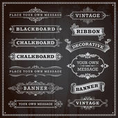Vintage design elements - banners frames and ribbons chalkboar