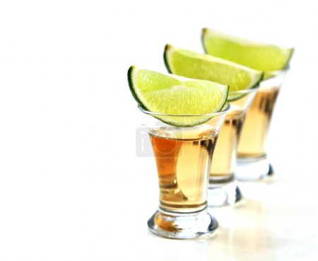 Photo for Tequila shots with lime on white background. - Royalty Free Image