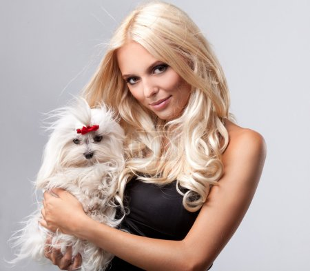 Blonde with dog