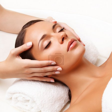 Photo for Face Massage. Close-up of a Young Woman Getting Spa Treatment. - Royalty Free Image