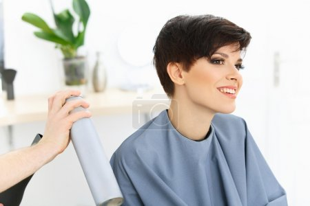 Brunette with Short Hair in Hair Salon