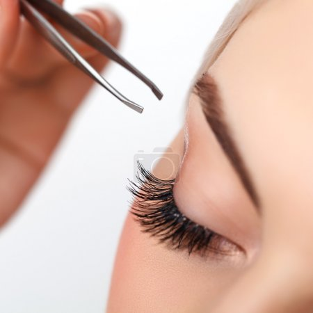 Photo for Woman eye with long eyelashes. Eyelash extension. Eyebrow - Royalty Free Image