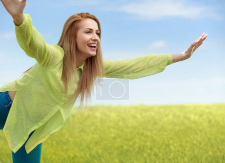 Photo for Enjoyment. Free Happy Woman Enjoying Nature. Beauty Girl Outdoor. Freedom concept. - Royalty Free Image