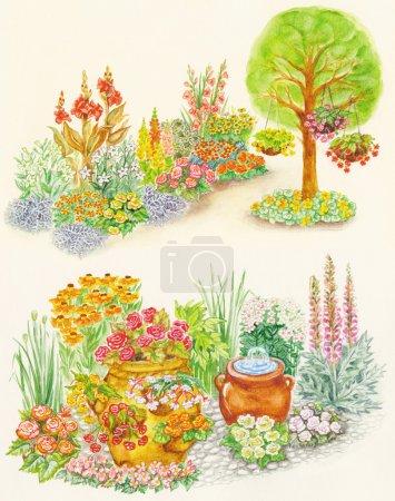 Watercolors hand painted pictures of garden design
