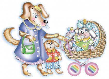 Photo pour Cartoon illustration de mignons petits chiots et chiens de maman - image libre de droit