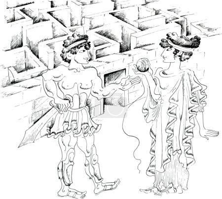 Theseus and Ariadne against Minotaur labyrinth...