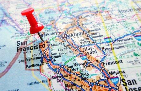 Foto de Mapa de la sección de silicon valley de california - san francisco y palo alto - Imagen libre de derechos