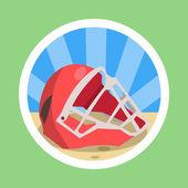 Baseball catcher maskou plochý design