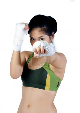 Photo for Asian Female fighter isolated on white - Royalty Free Image