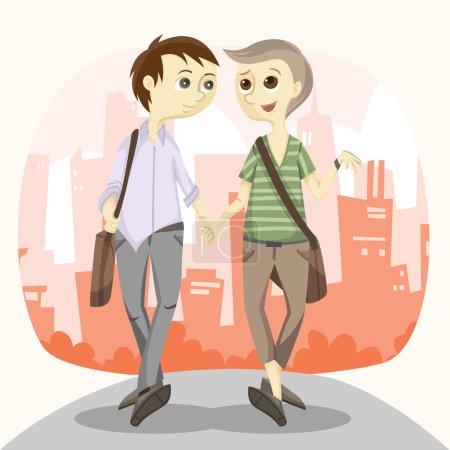 Photo pour Heureux gay couple illustration - image libre de droit