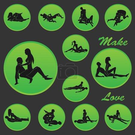 Illustration pour Faire l'amour Position Icône 3 - image libre de droit