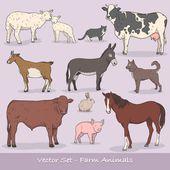 """Постер, картина, фотообои """"Животные на ферме Векторный набор"""""""