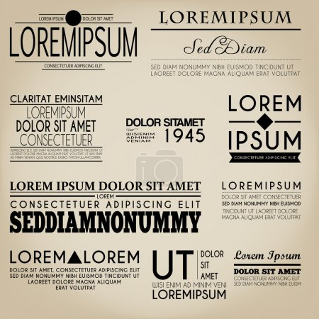 Illustration pour Typographie Étiquette Design Style Vintage - image libre de droit
