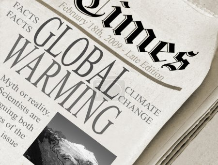 Photo for Global Warming - fact or fiction. Newspaper with headlines about climate change issues. - Royalty Free Image