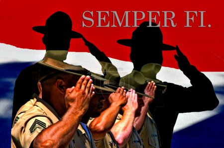 Silhouette of USMC drill instructors saluting in c...
