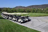Linie golfové vozíky - několik párů vozíky čekání na hru golfu na jasné modré slunečný den v jižní Kalifornii