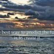 View of thunderstorm clouds above the sea and an inspirational quote that says